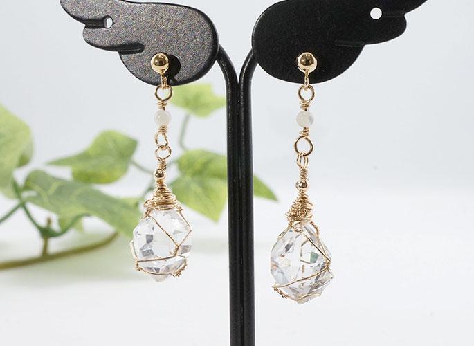 ハーキマーダイヤモンド、マザーオブパール ピアス-0
